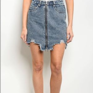 Dresses & Skirts - Denim distressed stonewashed mini skirt